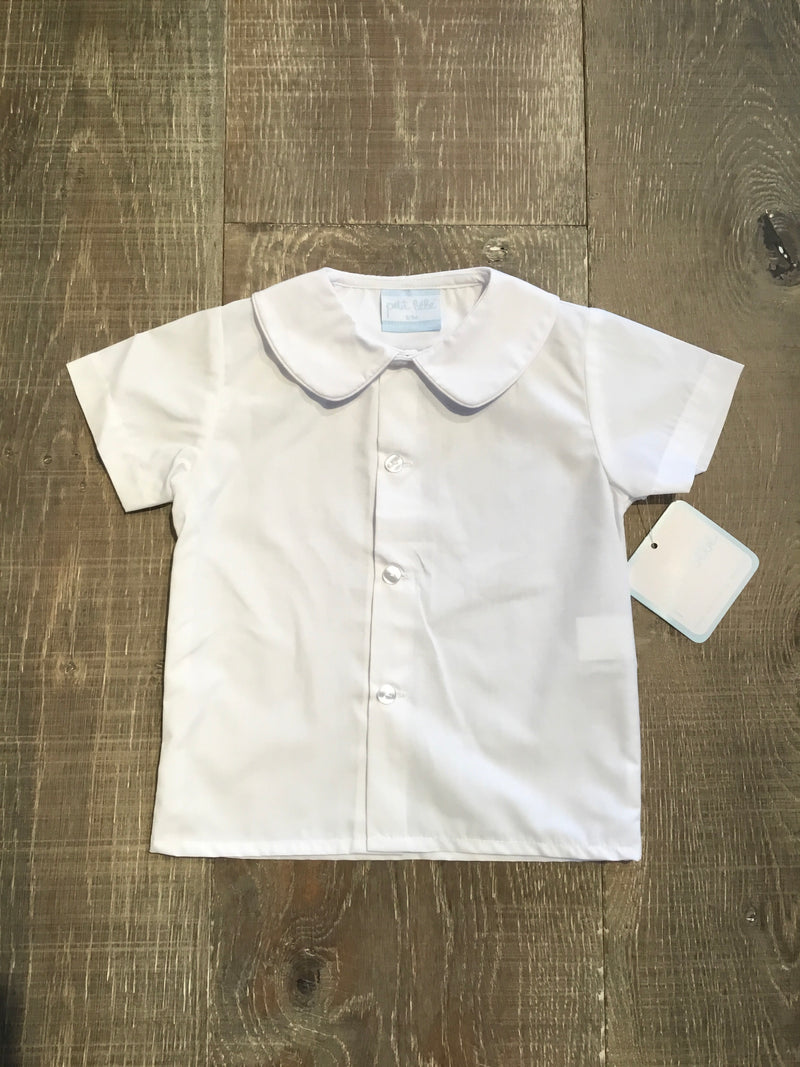 White Short Sleeve Shirt with White Piping Collar