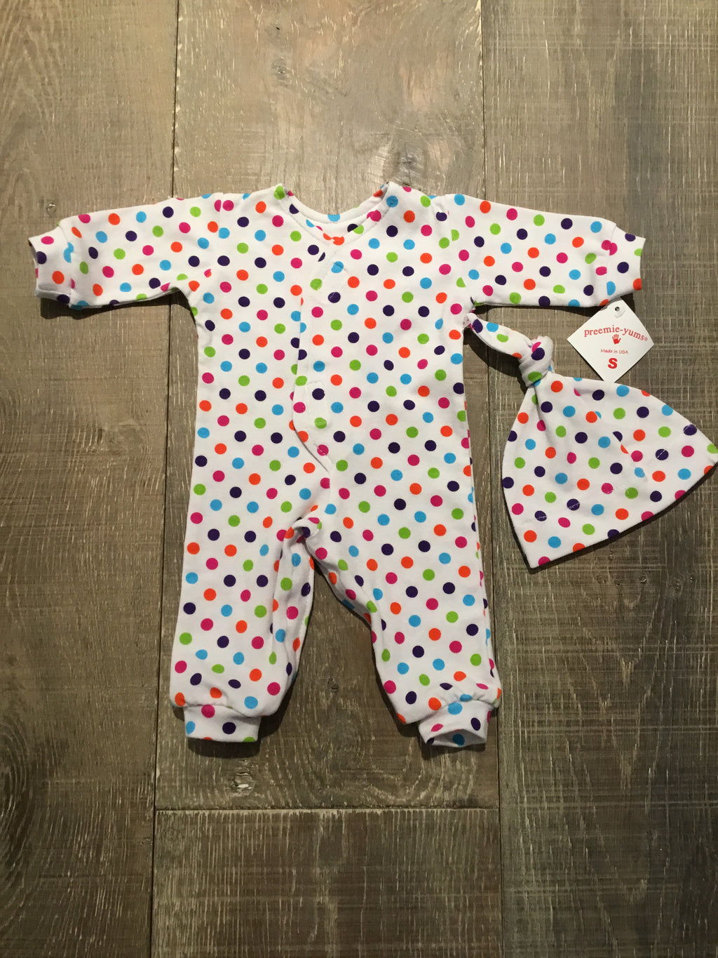 Colorful Dotted Preemie Coverall & Hat