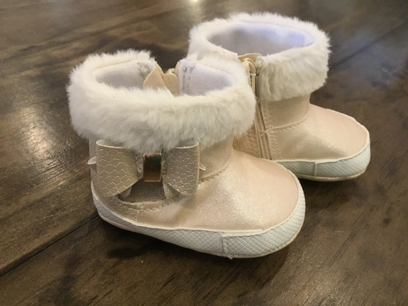 Champagne Booties with Faux Fur