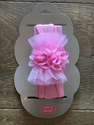 Pink baby headband with tulle & flowers