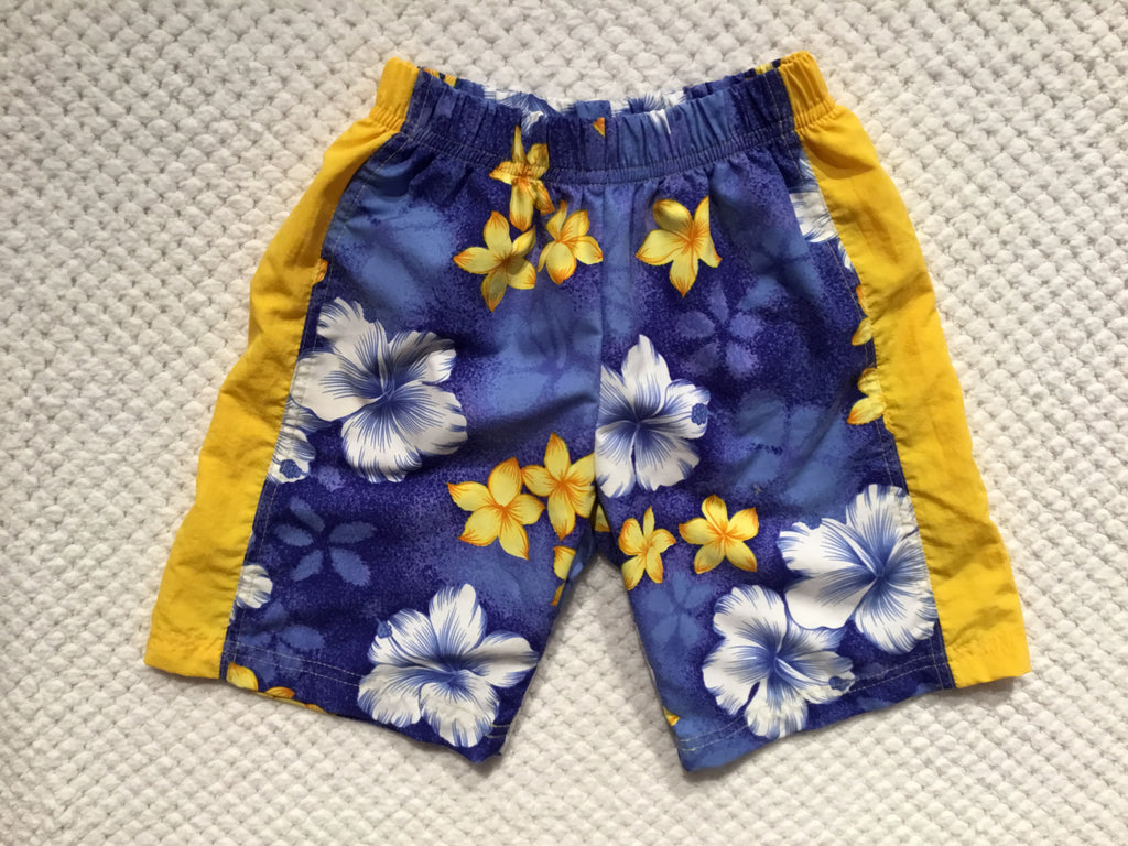 Yellow & Blue Hibiscus Swim Trunks