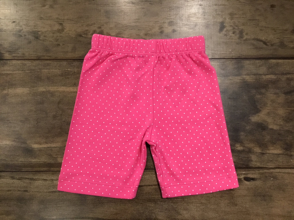 Hot Pink & White Dotted Bicycle Shorts by Luigi Kids