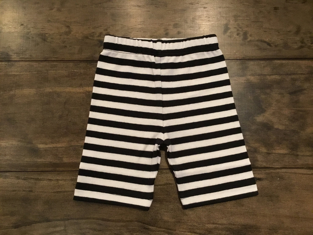 Black & White Stripe Bicycle Shorts by Luigi Kids