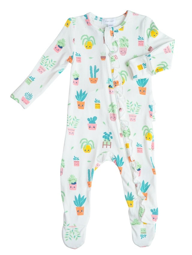House Plant Ruffle Zipper Footie