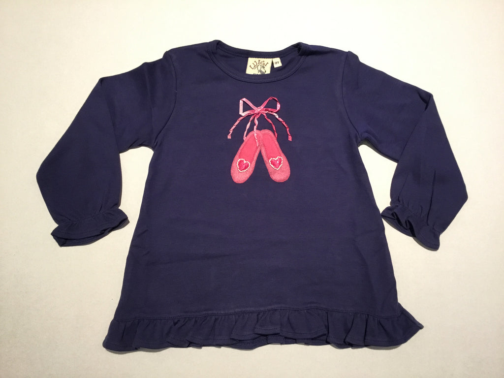 Pink Ballet Slippers on Navy L.S. Swing Top