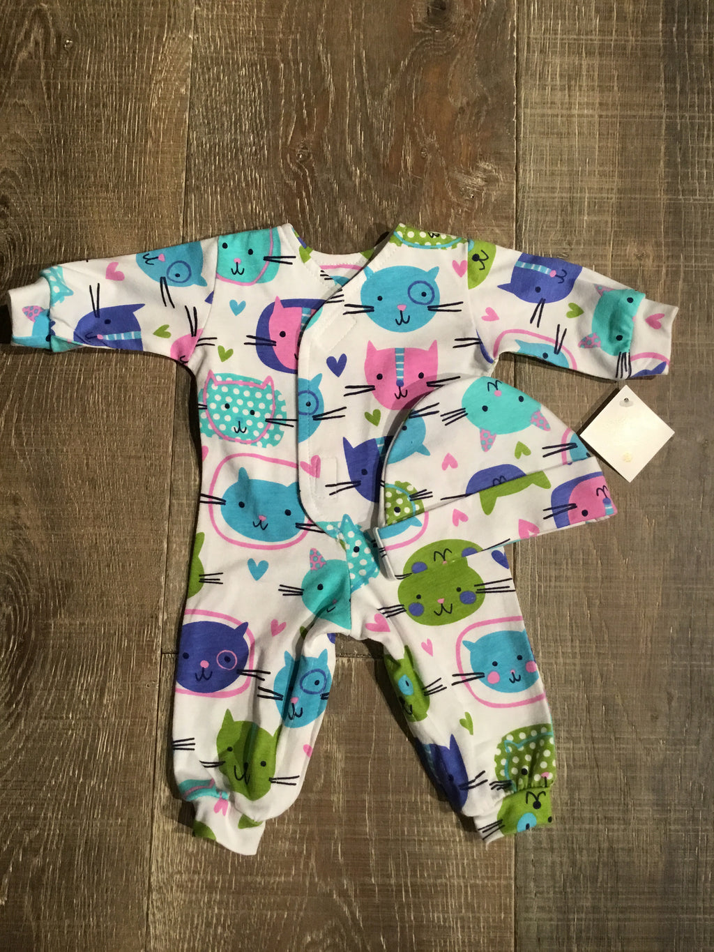 Kitty Cat Preemie Coverall & Hat