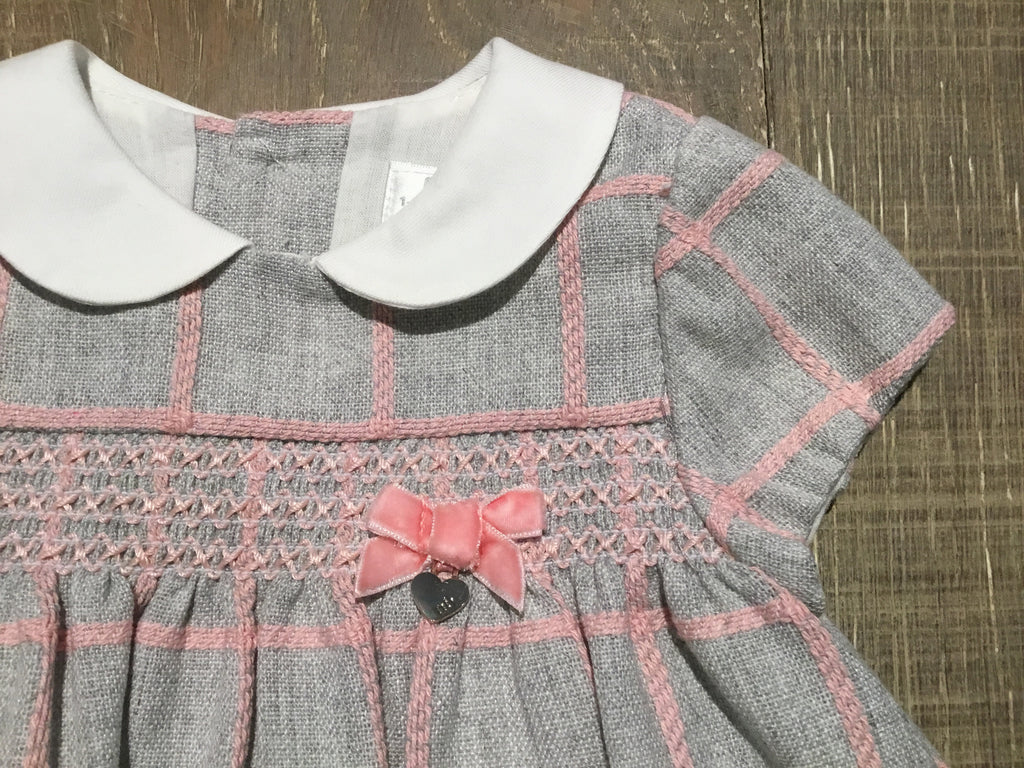 Grey & Pink Plaid Smocked Dress