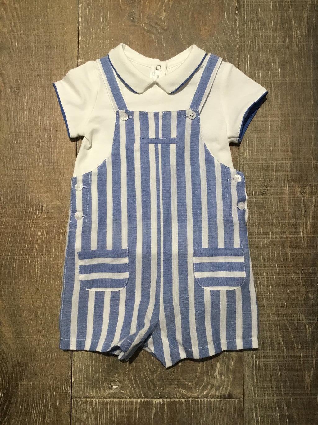 Blue & White Stripe Overall & Shirt Set