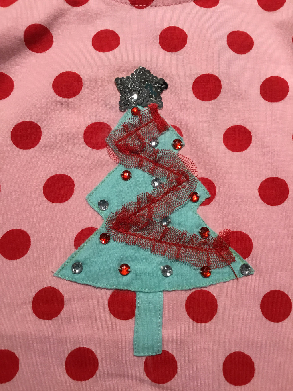 Pink/Red Dotted Christmas Tree Coverall