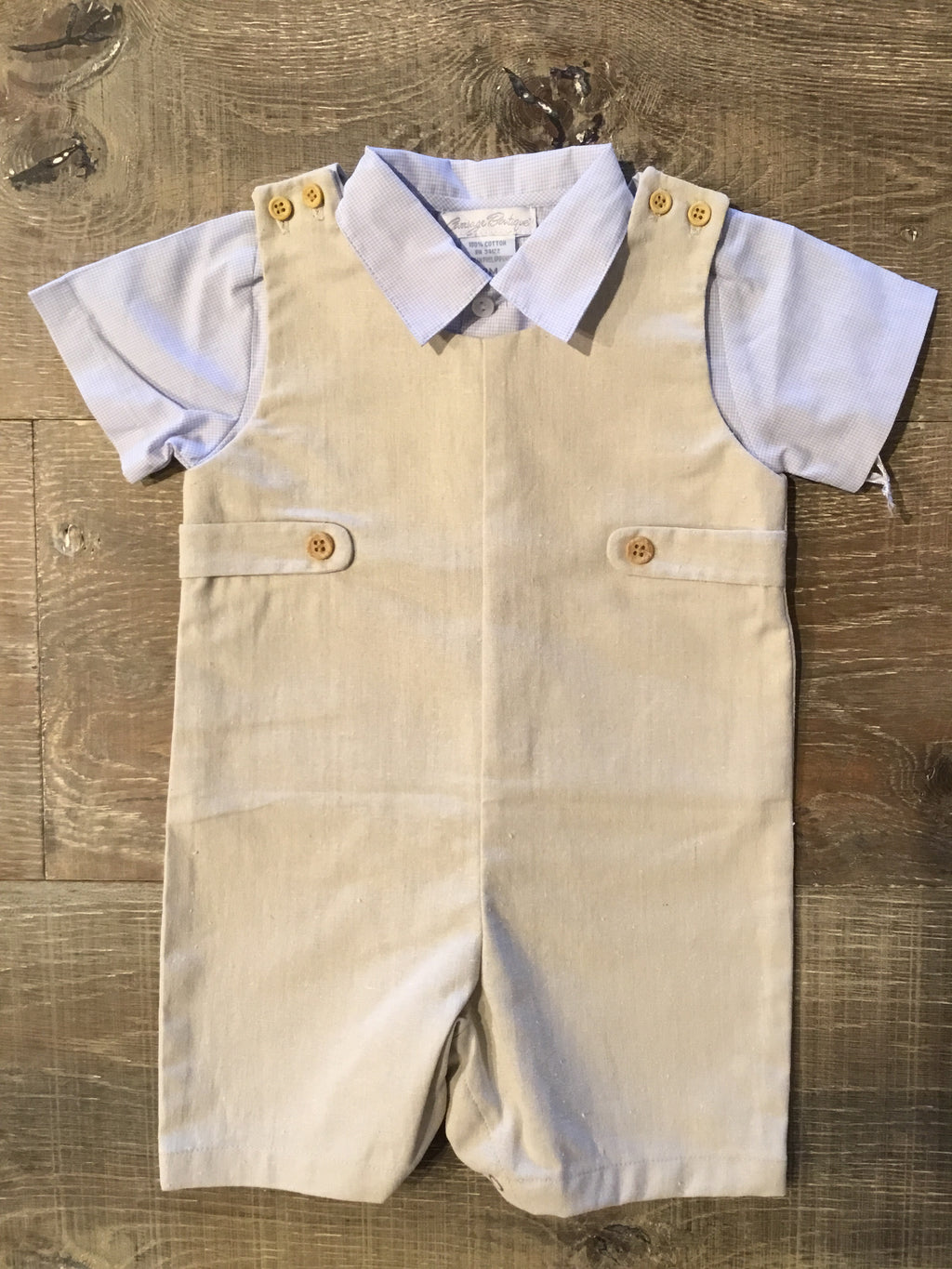 Khaki Shortall with Blue Gingham Shirt