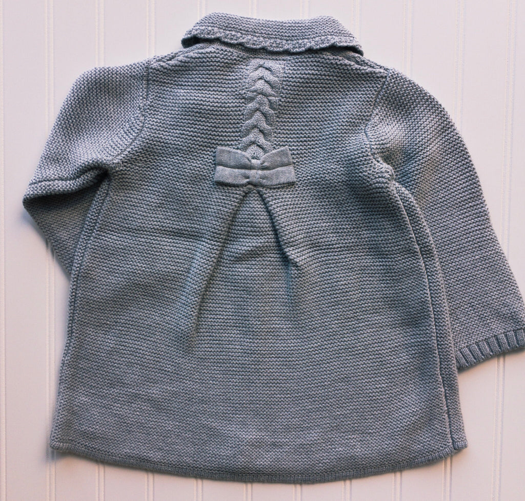 Gray Scalloped and Cable Knit Coat