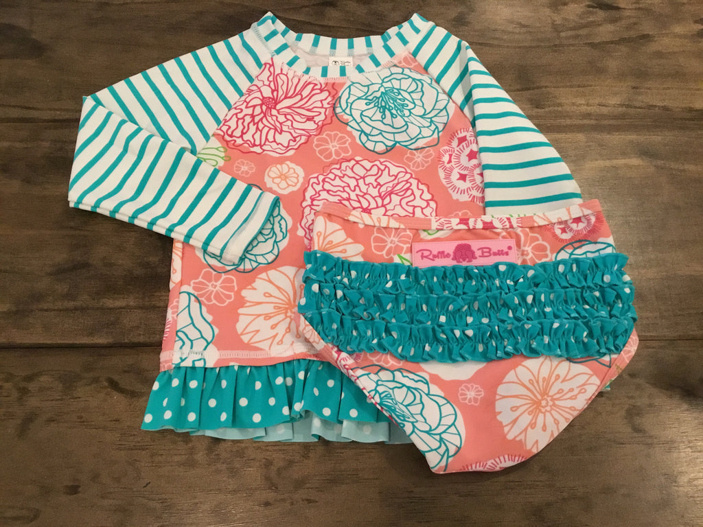 Long Sleeve Rash Guard and Bottoms in Turquoise and Coral