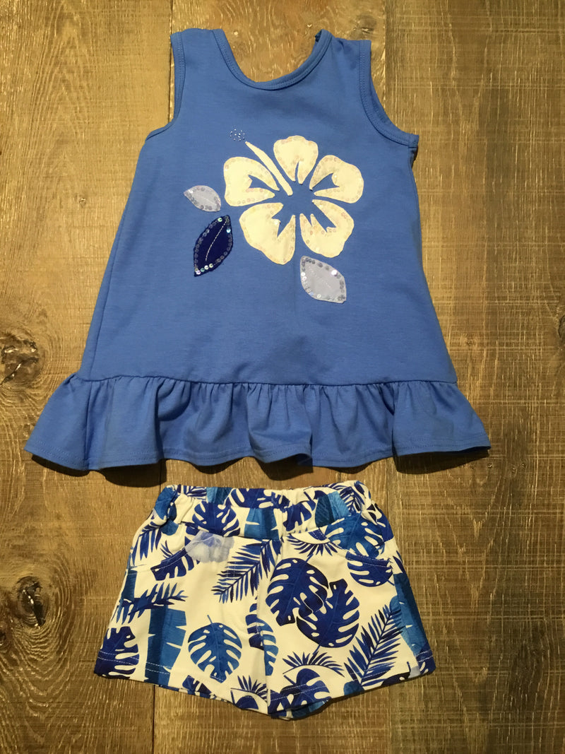 Blue & White Hibiscus Tank Tunic & Shorts