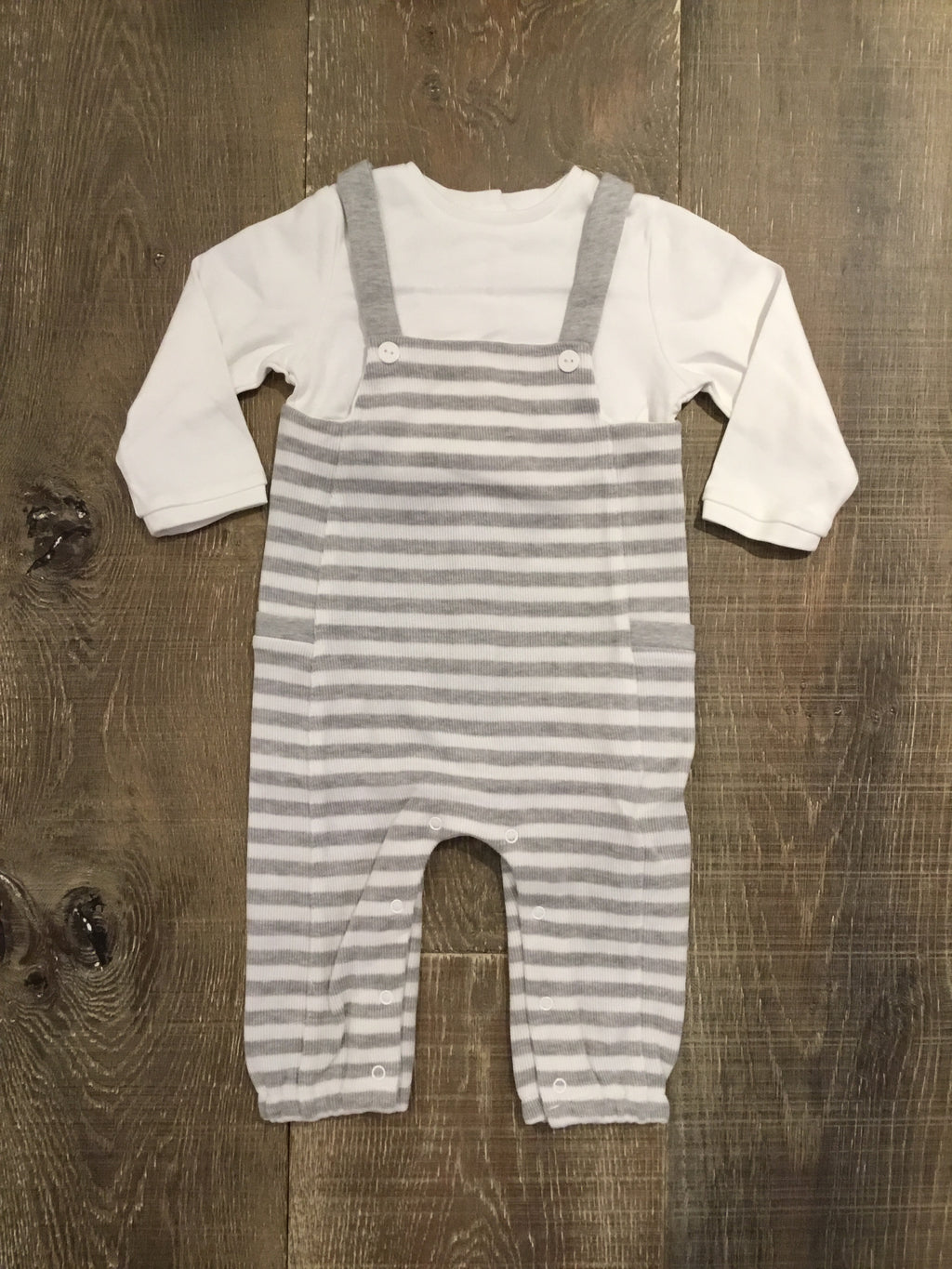 Grey Striped Onesie Overalls