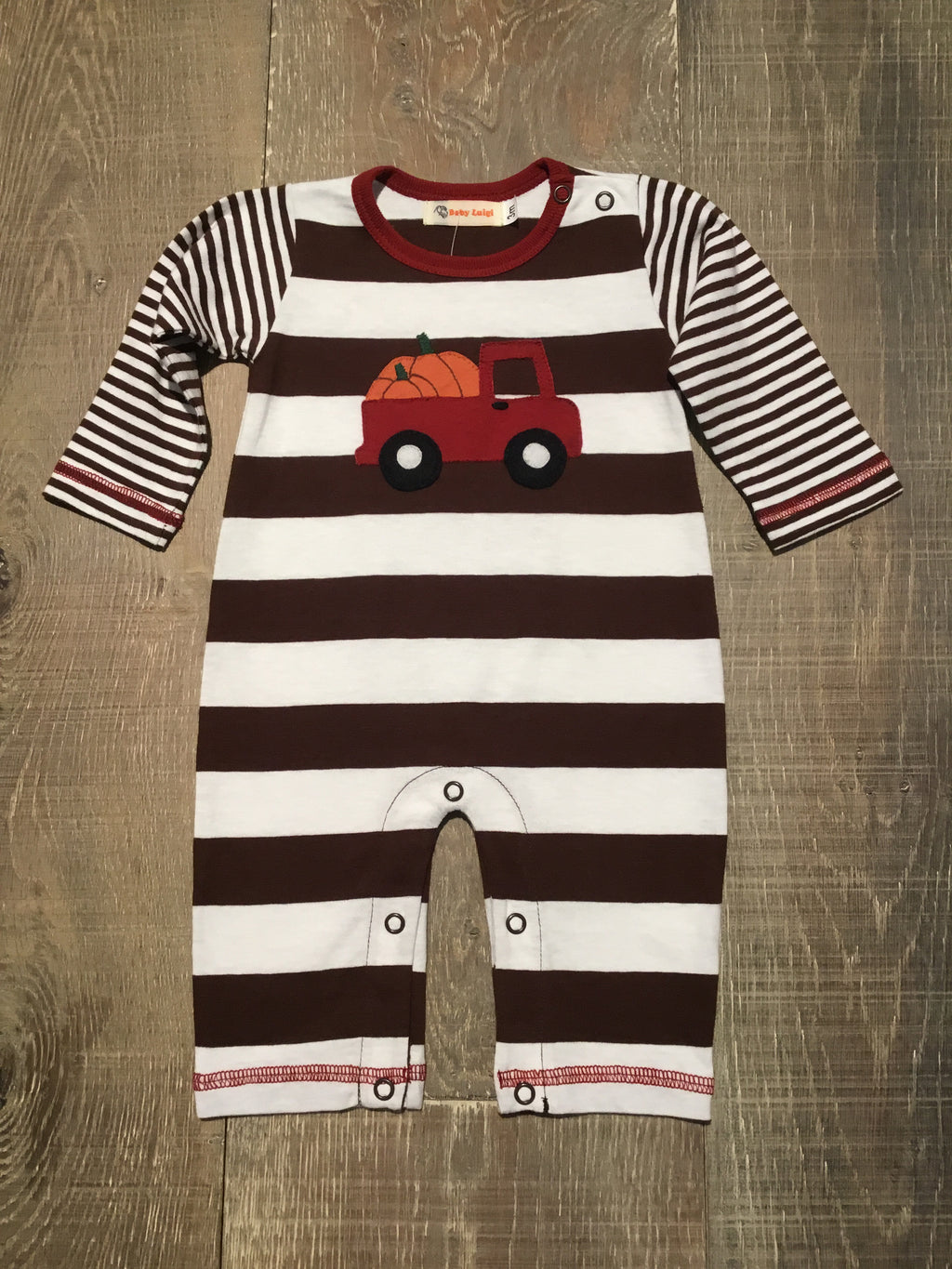 Truck with Pumpkins Striped Romper