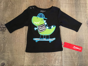 Dino Skater on Black Long Sleeve Shirt