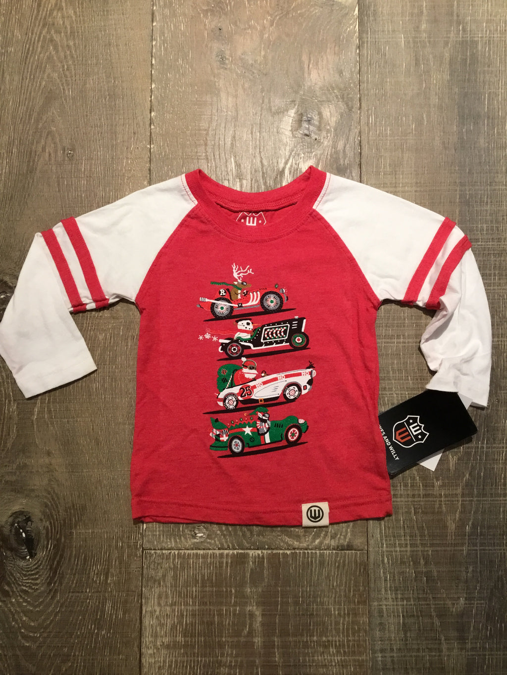 Holiday Racer Raglan L.S. Tee on Red/White