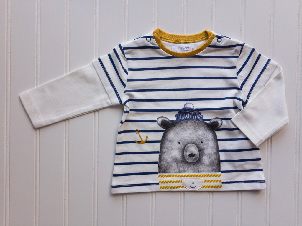 Nautical Bear Striped Double Sleeve Tee