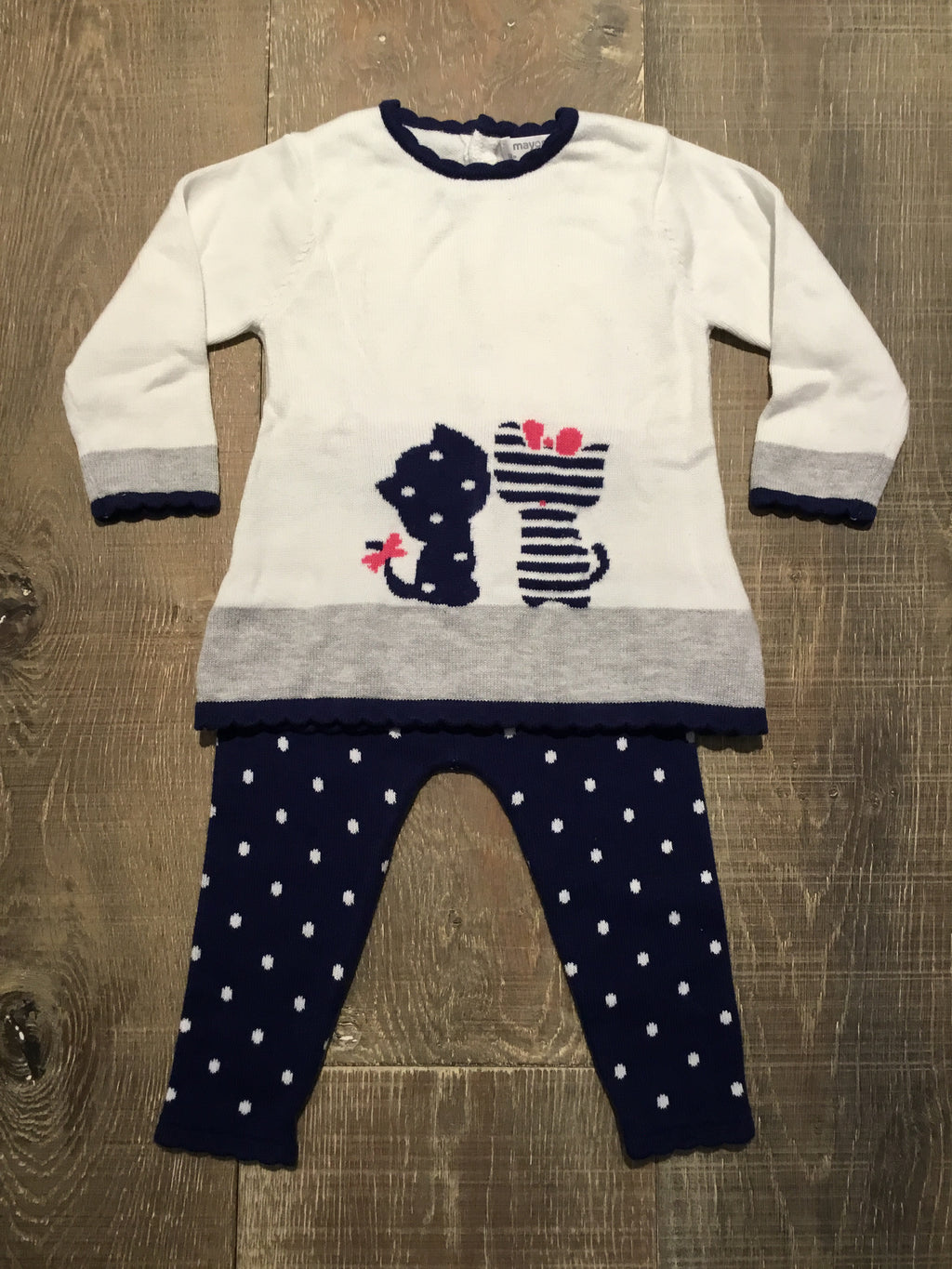 Navy Kitty Knit Dress Set