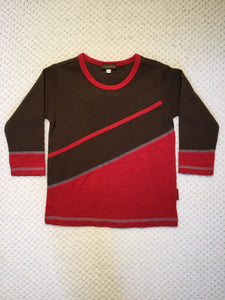 Brown and Red Waffle Weave Long Tee