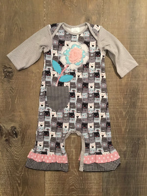 R&Z Grey and Pink Bear Coverall
