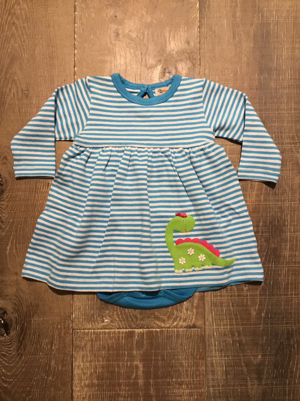 Dino on Turquoise Striped Dress & attached Onesie