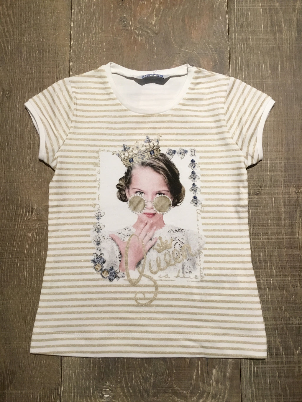 """Queen is Here"" Gold Striped Tee"
