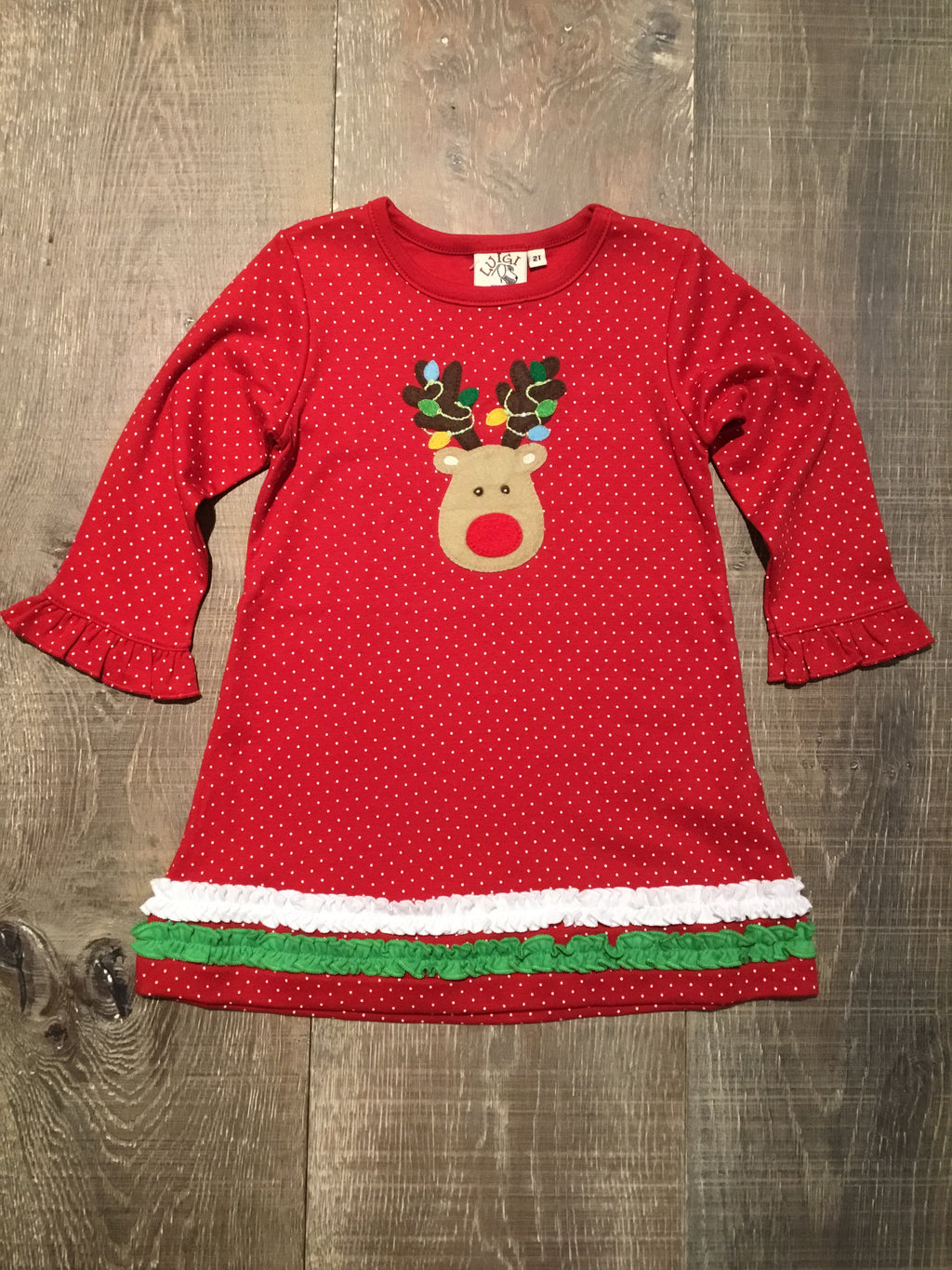 Rudolph & Lights Red Dotted Dress