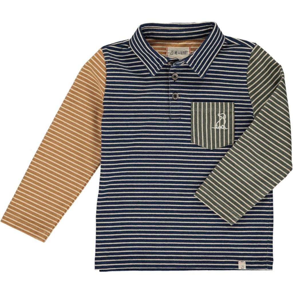 Navy/Multi Stripe Long Sleeve Polo