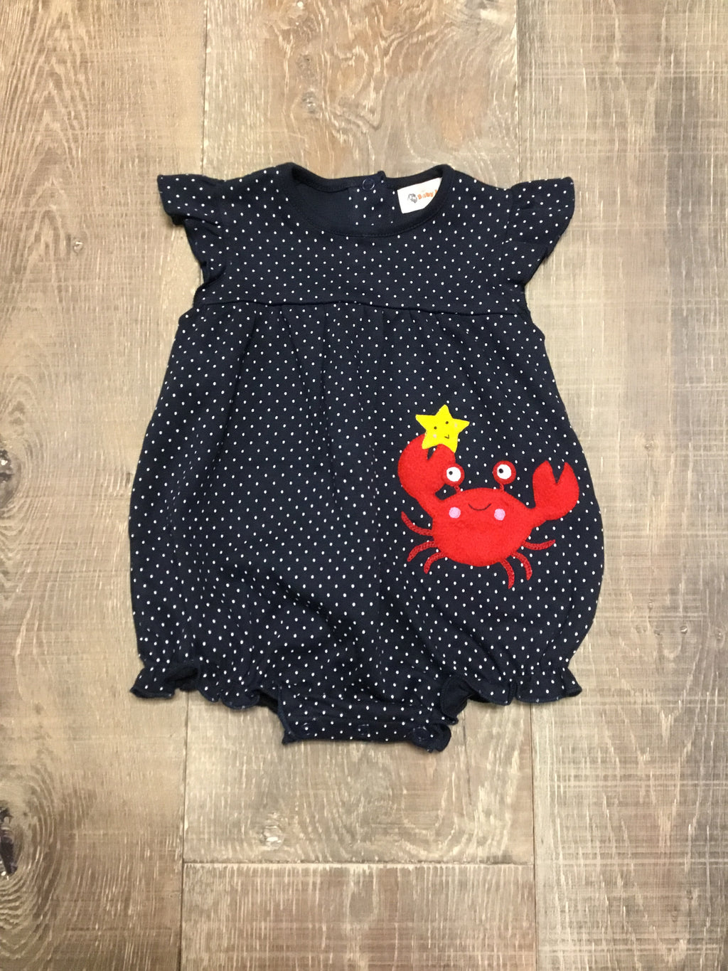 Happy Crab on Dotted Navy Bubble