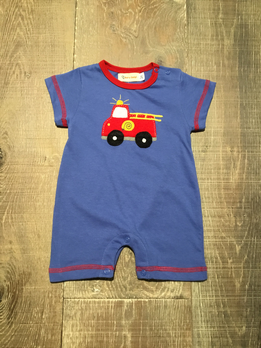 Fire Truck Chambray Romper