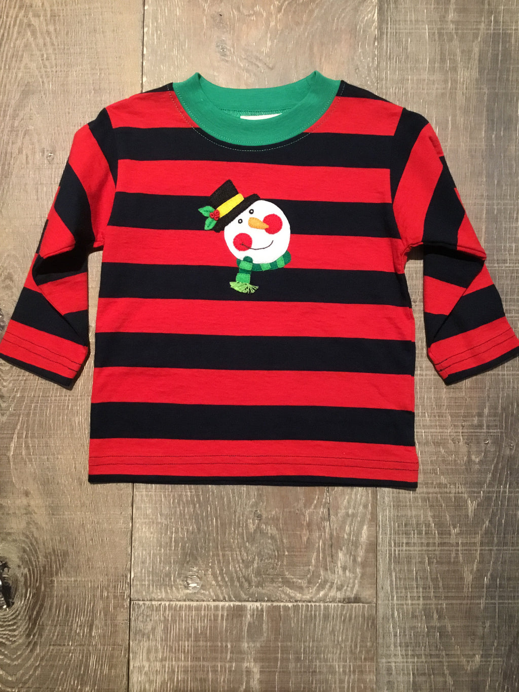 Snowman Face Striped LS Tee
