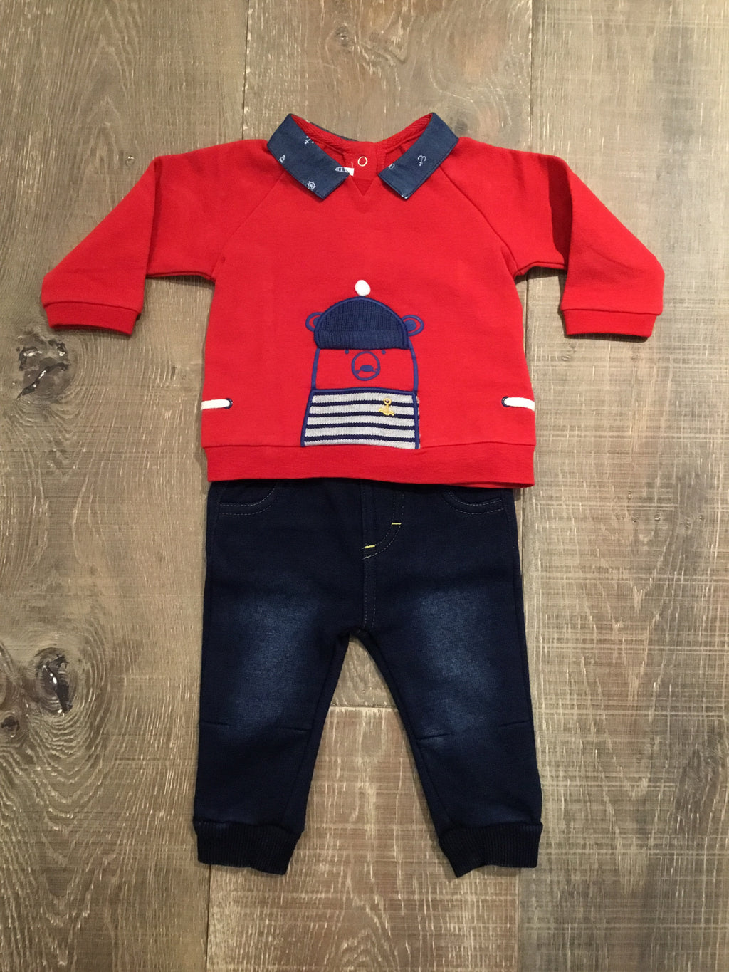Red Nautical Bear Top and Soft Denim Trousers