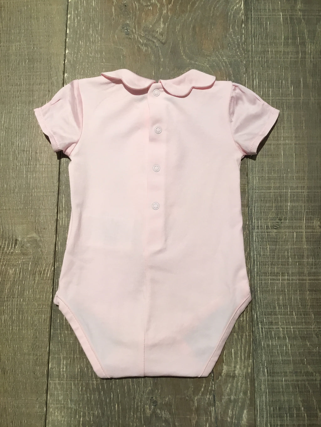 Pink Short Sleeve Onesie with Scalloped Collar