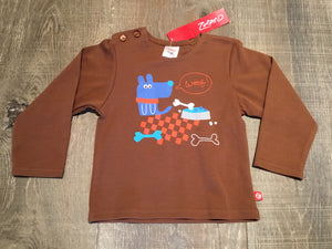 "Brown ""Woof"" Long Sleeve Shirt"
