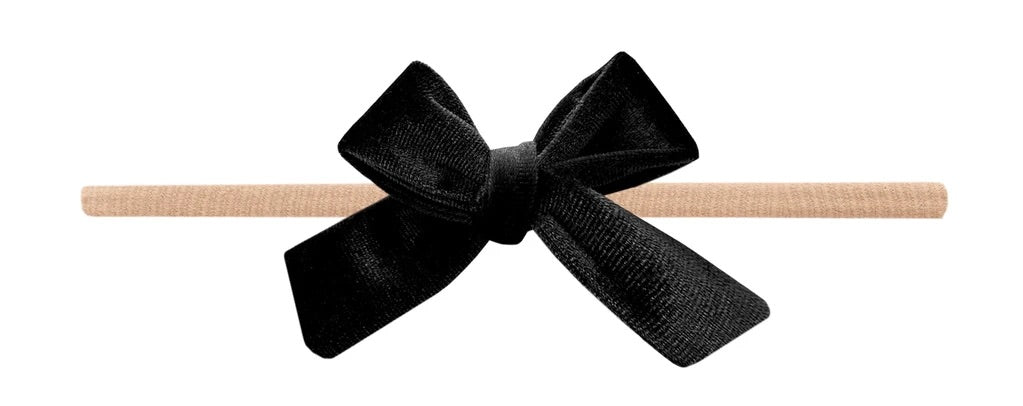 Velvety Bow Skinny Headband-Black