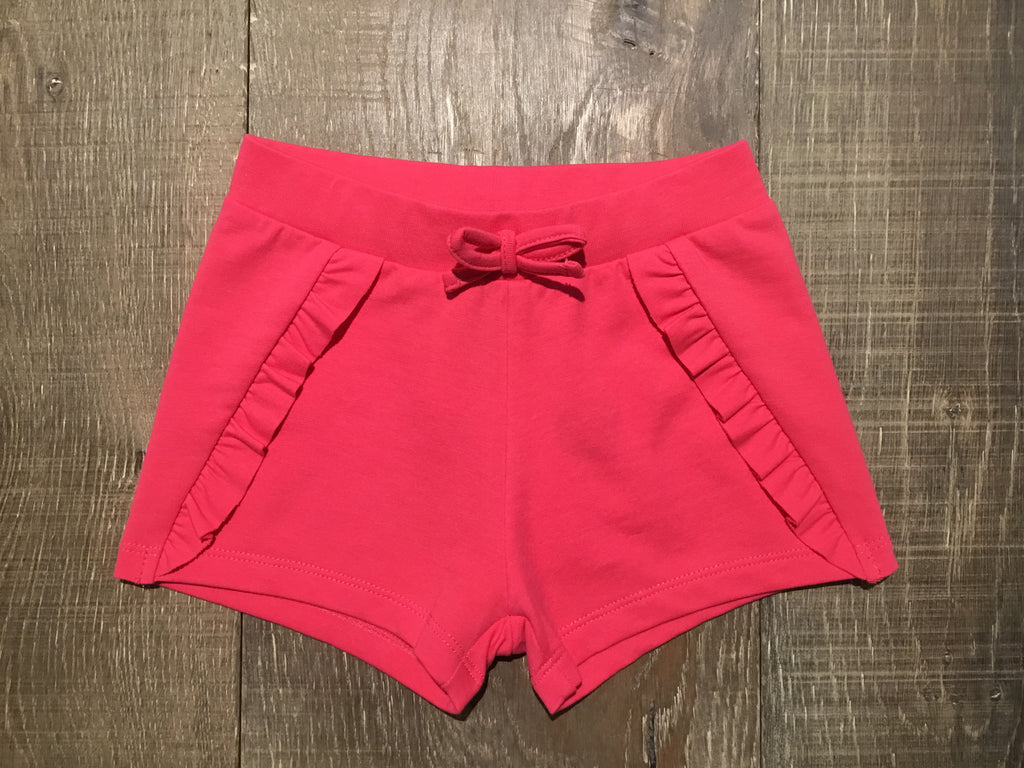 Solid Fuchsia Knit Ruffle Shorts