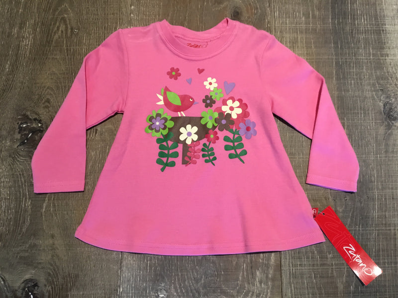 Pink Birdie Long Sleeve Swing Top