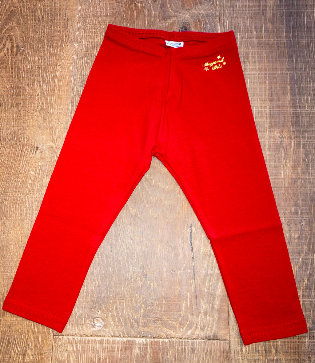 Set of Solid Red and Navy Leggings