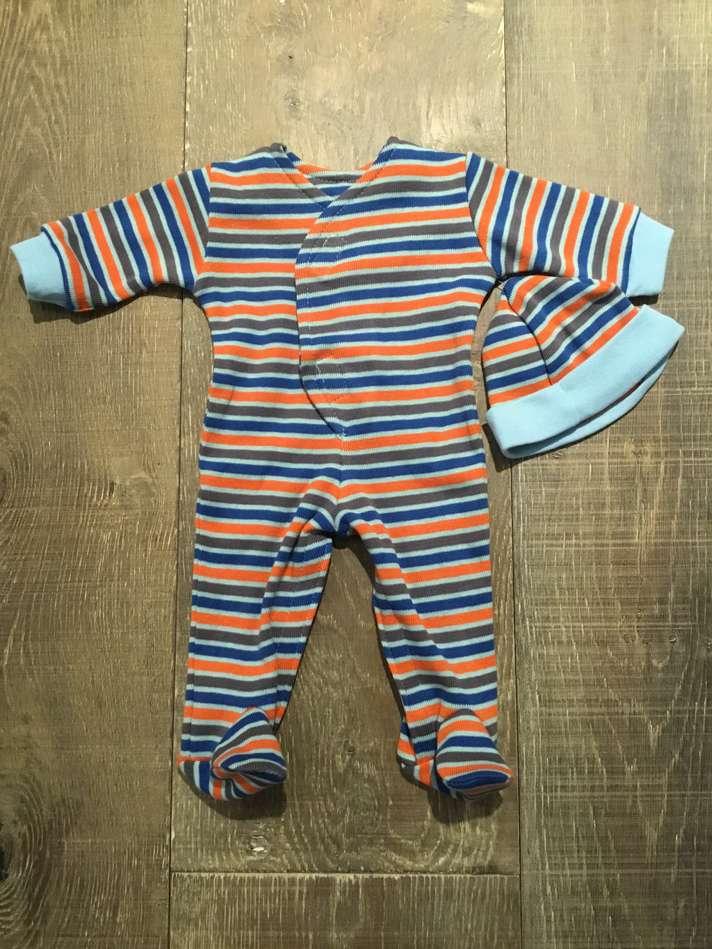 Blue Orange Stripes Preemie Footie & Hat