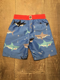 Bitmap Sharks Swim Trunks