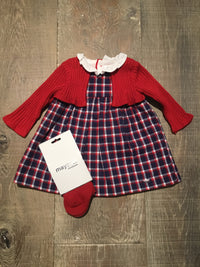 Plaid Dress with Cardigan & Tights