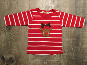 Girl Reindeer on Red/White Striped L.S. Tee