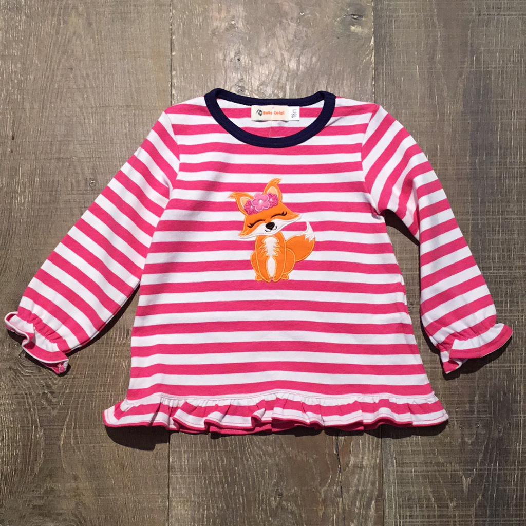 Fox with Flowers Pink Striped L.S. Top