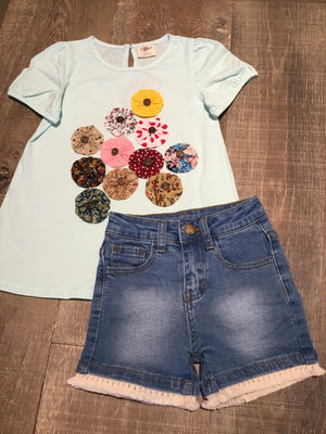 Mint Shirt with Flowers and Denim Shorts