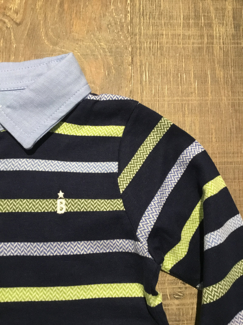 Blue & Green Striped Polo Long Sleeve Shirt