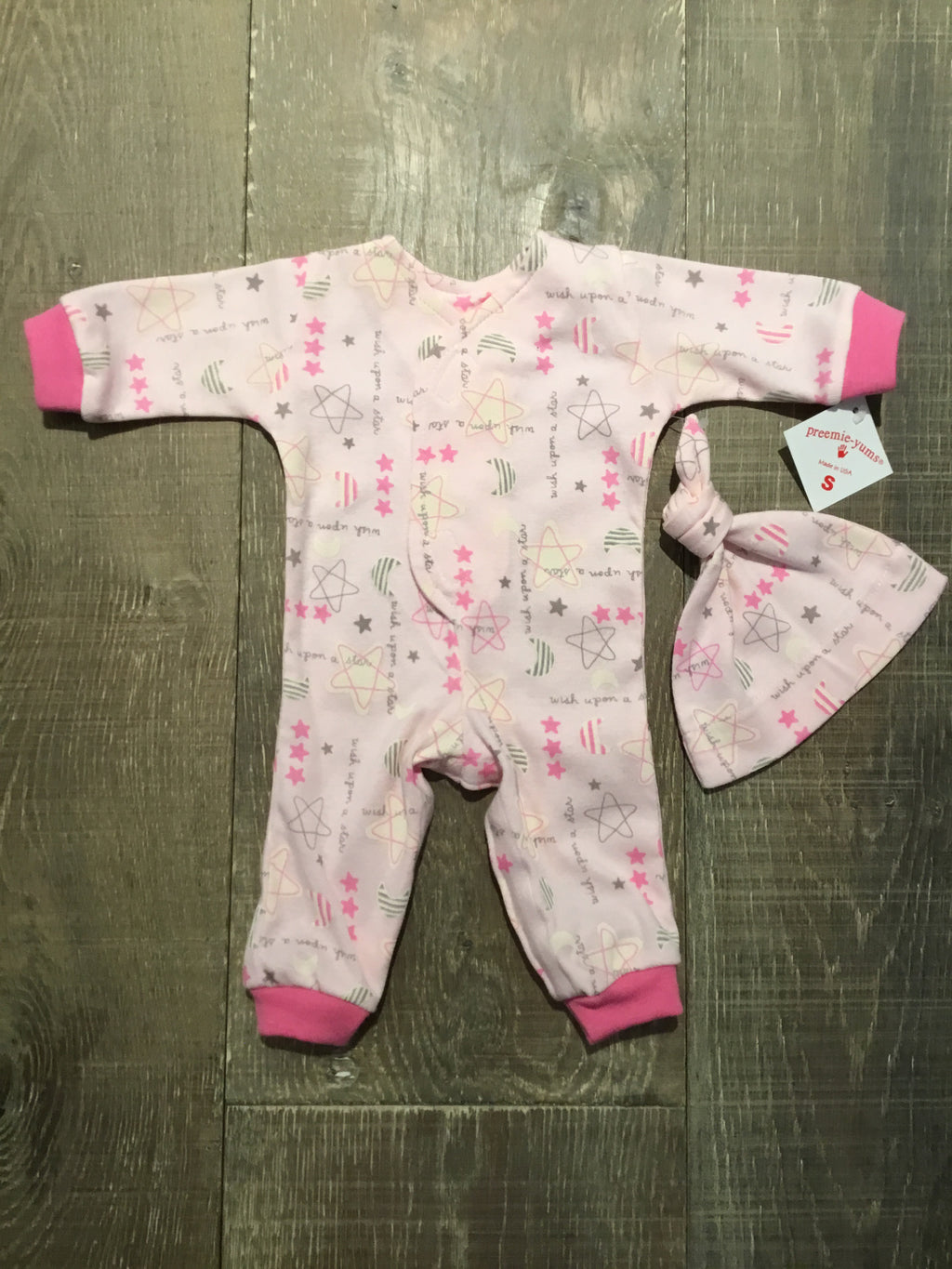 Pink Wish Upon a Star Preemie Coverall & Hat