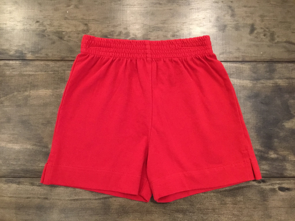 Deep Red Jersey Knit Shorts by Luigi Kids