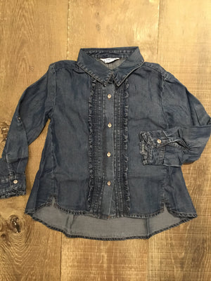 Denim Ruffle Button Down Blouse