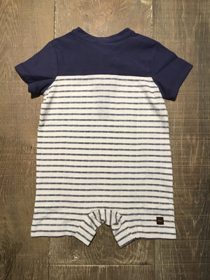 Henley Dashed Stripe Paper-White Romper